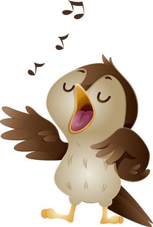 cantando: Ilustración de un Cute Nightingale cantando a todo pulmón Notas