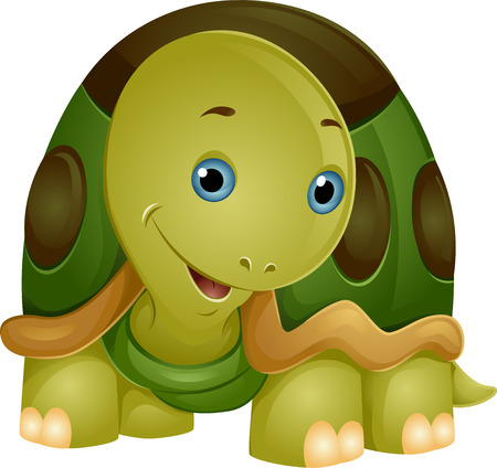 Illustration of a Cute Smiling Turtle with its Head Partly Tilted to the Side Stock Photo