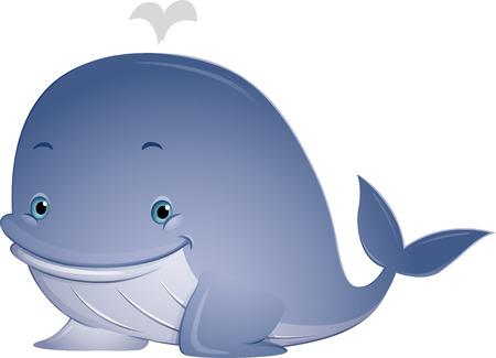 orificio nasal: Ilustraci�n que ofrece una ballena linda con el agua que echa en chorro de su espir�culo Foto de archivo