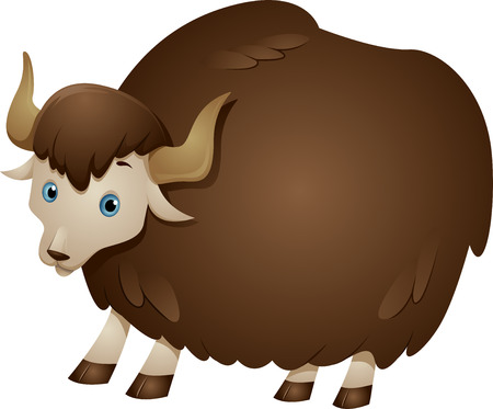 wooly: Illustration of a Yak with a Thick Wooly Coat