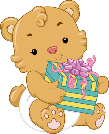 Illustration of a Cute Baby Bear Holding a Gift Box illustration