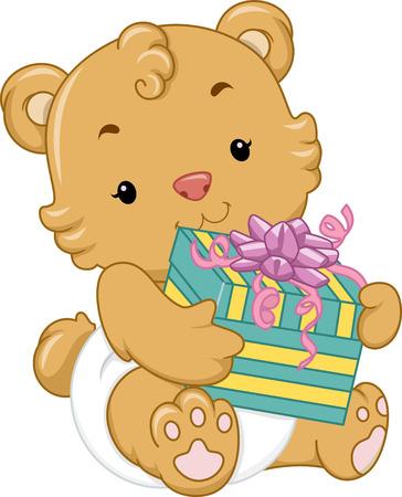 baby bear cartoon: Illustration of a Cute Baby Bear Holding a Gift Box