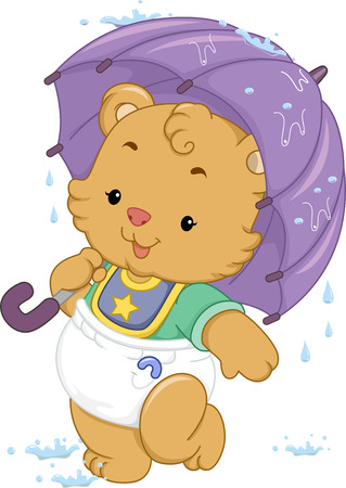 shelter: Illustration of a Cute Baby Bear Using an Umbrella to Shelter Itself from the Rain