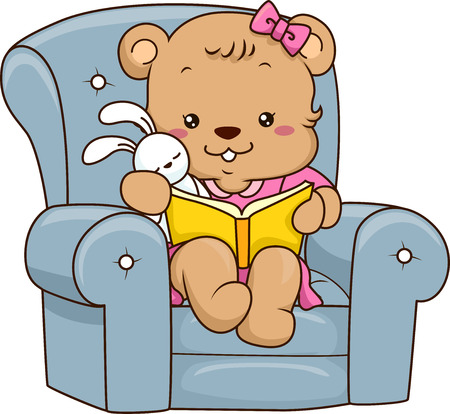 plushie: Illustration of a Cute Baby Bear Reading a Storybook