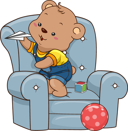 playthings: Illustration of a Cute Baby Bear Playing with Paper Planes