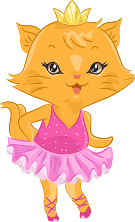 Illustration of a Cute Cat Wearing a Ballerina Costume Stock Photo
