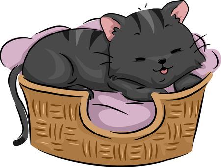 Illustratie van een leuke kat liggen tevreden op haar Bed Stockfoto