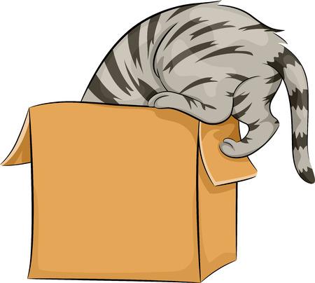 Illustration of a Cat Curiously Peeking Inside a Box Stock Illustration - 27668636