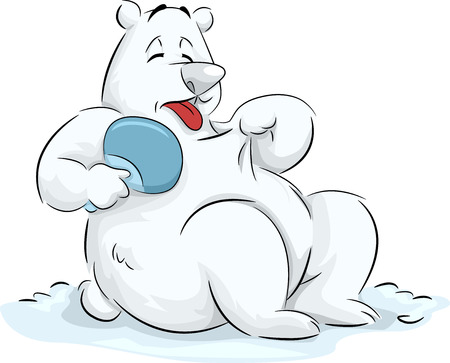 anthropomorphic: Illustration of a Fluffy Polar Bear Trying to Cool Itself Down