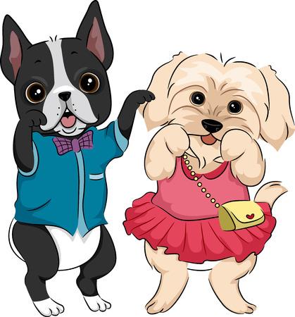 Illustration, Cute Dogs tragen modische Kleidung und Accessoires Standard-Bild - 28157444
