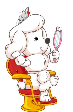 gazing: Illustration Featuring a Cute Poodle Gazing at its Reflection in the Mirror Stock Photo