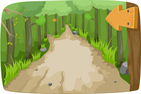 Illustration Featuring a Hiking Trail in the Middle of the Forest illustration