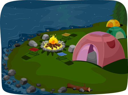 lakeside: Illustration Featuring a Camp Site Situated Near a Lake Stock Photo