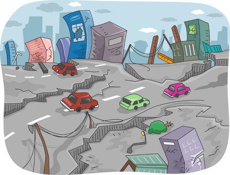 Illustration of a City Left in Ruins by an Earthquake illustration
