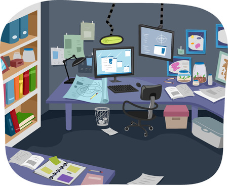 disarray: Illustration of an Experiment Room with Plenty of Research Notes Lying Around  Stock Photo