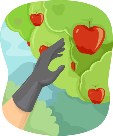 apple clipart: Illustration Featuring a Hand Picking Apples from a Tree