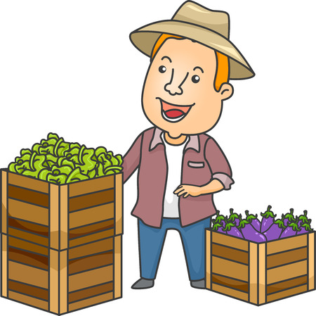 beside: Illustration of a Farmer Standing Beside Crates of Fresh Produce