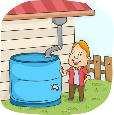 rainwater: Illustration of a Man Collecting Rainwater from the Gutter Stock Photo