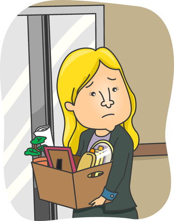 laid off: Illustration of a Woman Taking Her Belongings Home After Being Fired from Work Stock Photo