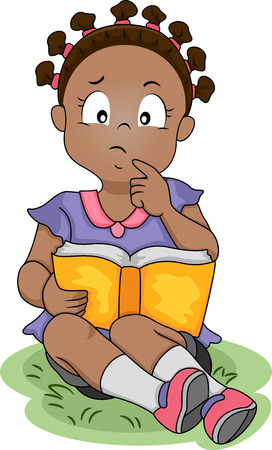 absorbed: Illustration of a Girl reading a book thinking