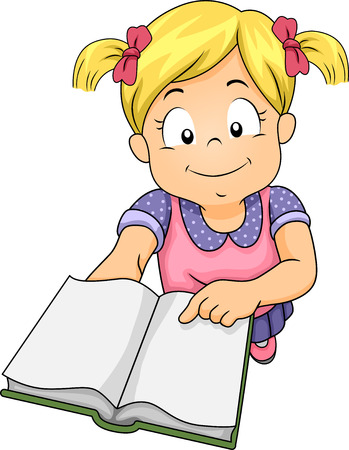 someone: Illustration of a Little Girl Holding a Book and Asking Someone to Read Her a Story