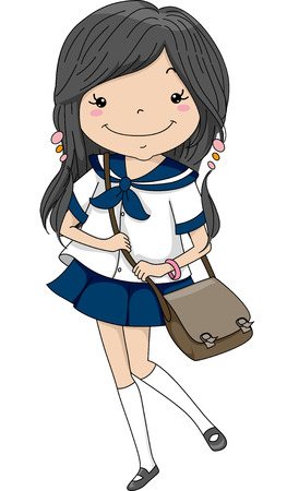 uniform attire: Illustration of a Female Japanese Student Wearing a Sailor Uniform Stock Photo