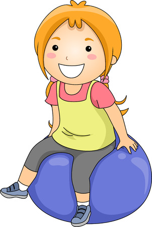 Illustration of a Little Girl Sitting on an Exercise Ball illustration