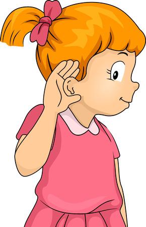 escuchar: Ilustración de una niña con apretó la mano contra su oído en un gesto Escuchar