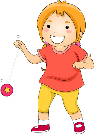 yoyo: Illustration of a Little Girl Happily Playing with a Yoyo Stock Photo