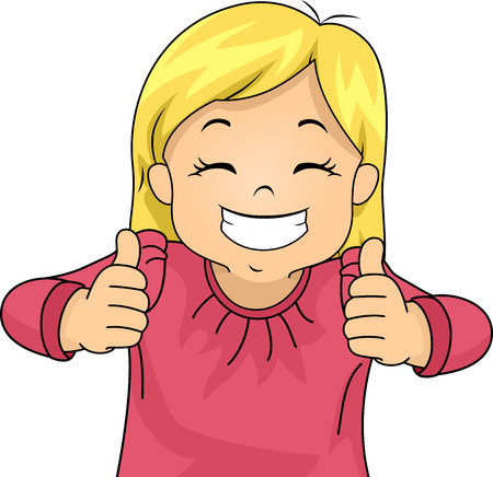two thumbs up: Illustration of a Little Girl Giving Two Thumbs Up