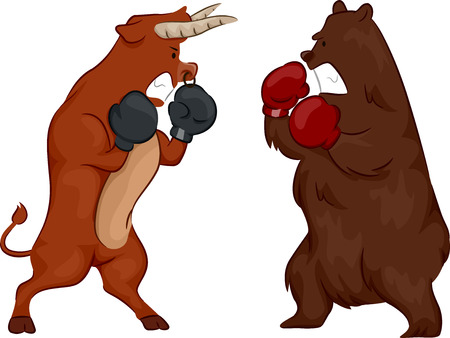 bear market: Illustration Depicting the Stock Market by Using a Bear and a Bull Wearing Boxing Gloves Stock Photo
