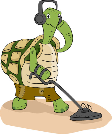 metal detector: Illustration of a Cute Turtle Scanning the Ground with a Metal Detector