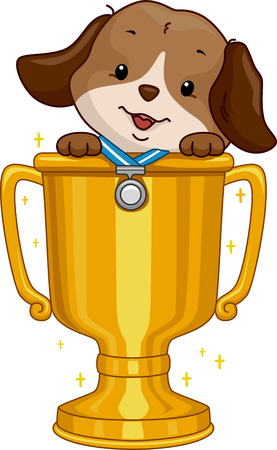 Illustration Featuring a Cute Dog Wearing a Medal Sitting in a Golden Cup illustration