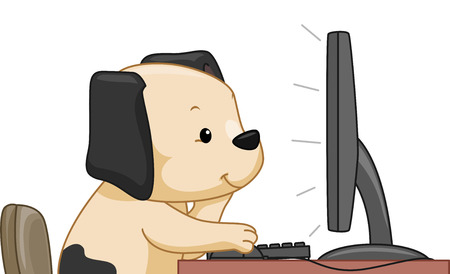 computer mascot: Illustration Featuring a Cute Dog Doing an Online Search Stock Photo