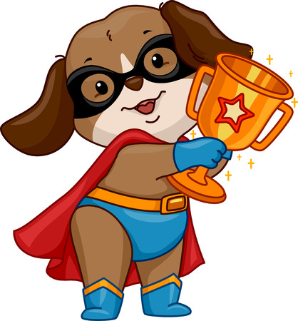 Illustration of a Dog Wearing a Superhero Costume Holding a Golden Cup illustration