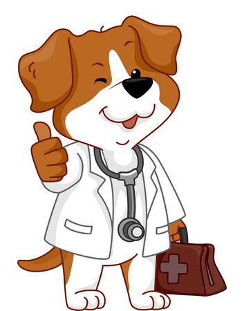 featuring: Illustration Featuring a Dog Wearing a Veterinarians Costume Giving a Thumbs Up
