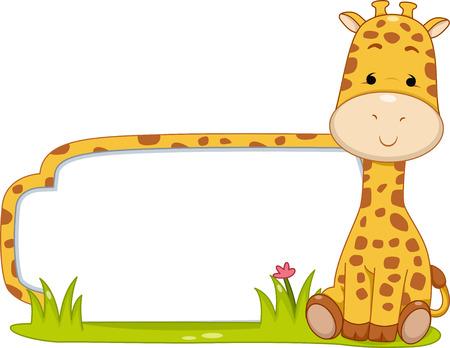 Ilustración de un Listo para Imprimir etiqueta que ofrece una jirafa linda que se sienta al lado de un trozo de hierba