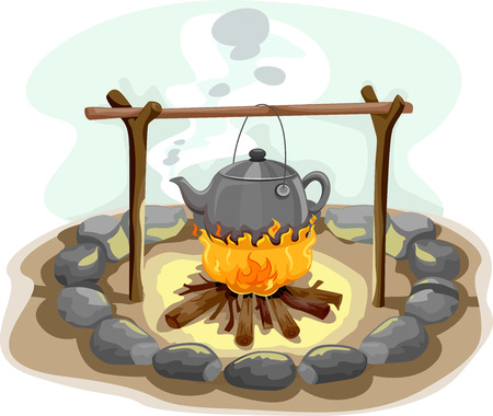 Illustration Featuring a Kettle of Water Hanging Over a Camp Fire Stock Photo
