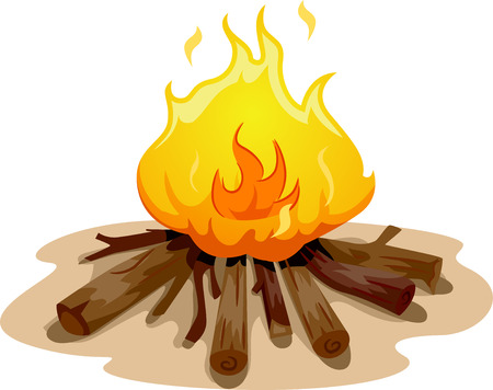 Illustration Featuring a Camp Fire Burning Brightly Stock Photo