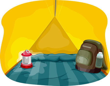 knapsack: Illustration Featuring the Interior of a Camping Tent