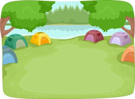 Illustration of a Lakeside Camp Site Filled with Colorful Camping Tents Stock Photo