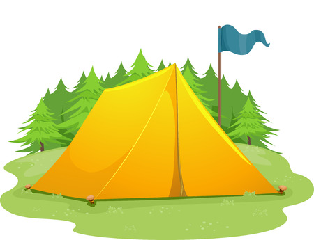 camping site: Illustration of a Blue Flag Standing Beside a Camping Tent