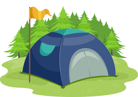 camping site: Illustration of a Yellow Flag Standing Beside a Camping Tent