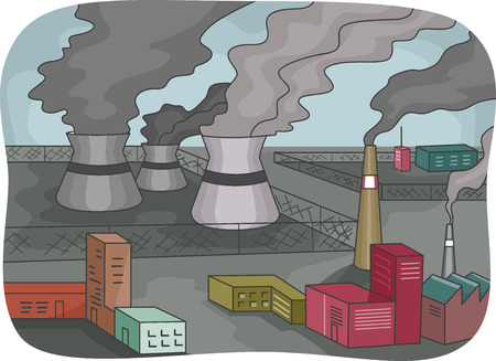 Illustration Featuring Power Plants Emitting Thick Black Smoke illustration