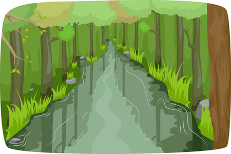 thick forest: Illustration of a Calm River Running Through a Thick Forest Stock Photo
