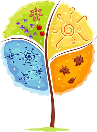 Illustratie van een boom die de vier seizoenen Stockfoto