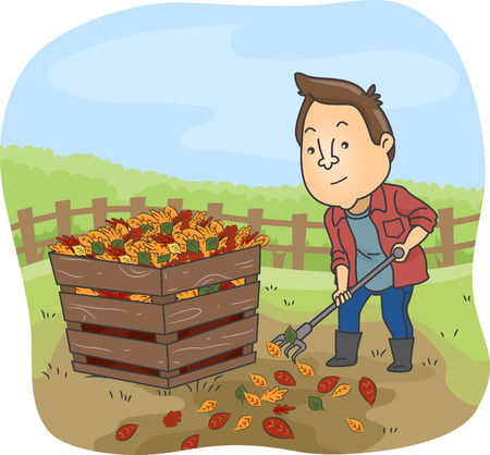 permaculture: Illustration of a Man Dumping Dry Leaves in a Compost Bin
