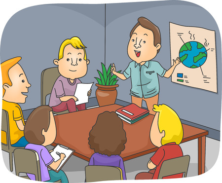 mother earth: Illustration of a Man Doing an Environment-Related Presentation at a Meeting