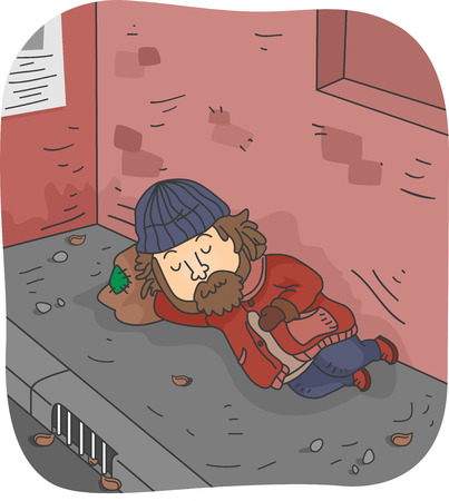 Illustration of a Homeless Man Sleeping on the Pavement