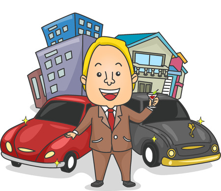 wealthy man: Illustration of a Wealthy Man Making a Toast to His Houses, Buildings, and Cars